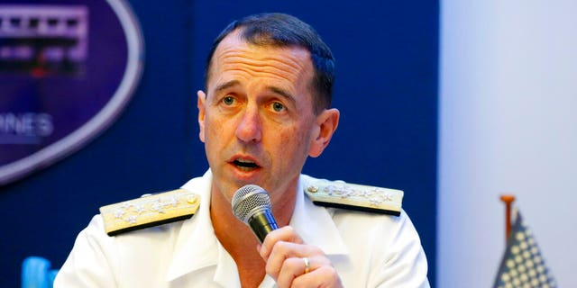 FILE: Adm. John Richardson, chief of Naval Operations of the U.S. Navy, speaks during a news conference in suburban Quezon city, Philippines.