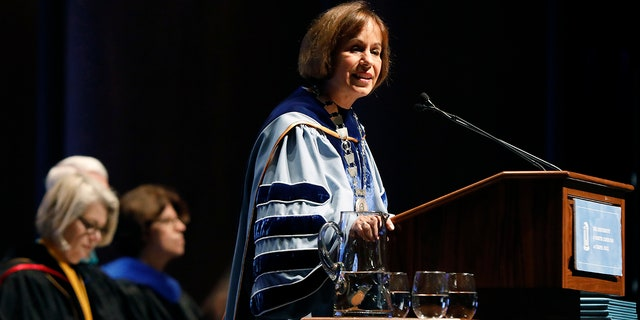 FILE-In this Friday, Oct. 12, 2018 file photo, UNC Chapel Hill Chancellor Carol Folt, the school's outgoing chancellor, ordered that the empty pedestal be put into storage because of safety concerns. (Ethan Hyman/The News & Observer via AP, File)