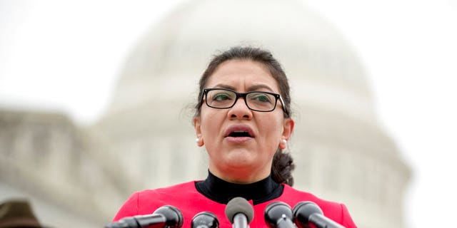 """Rep. Rashida Tlaib, D-Mich., speaks at a news conference on Capitol Hill in Washington, Thursday, Jan. 17, 2019, to unveil the """"Immediate Financial Relief for Federal Employees Act"""" bill which would give zero interest loans for up to $6,000 to employees impacted by the government shutdown and any future shutdowns. (AP Photo/Andrew Harnik)"""