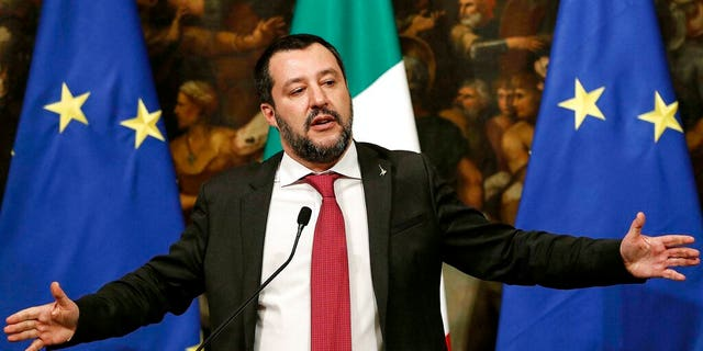 Italian Deputy Premier and Interior Minister Matteo Salvini speaks at a press conference following a Cabinet meeting at Chigi Palace's premier office in Rome, Thursday, Jan. 17, 2019. (Riccardo Antimiani/ANSA via AP)
