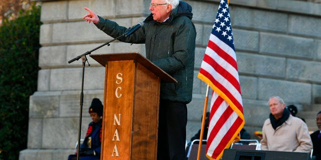 Sen. Bernie Sanders, I-Vt., speaking at the South Carolina Statehouse in Columbia on Monday. (AP Photo/Meg Kinnard)