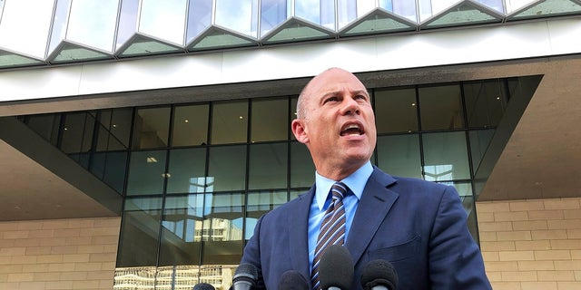 Michael Avenatti, attorney for porn actress Stormy Daniels, talks to reporters outside federal court in Los Angeles, Tuesday, Jan. 22, 2019. (Associated Press)