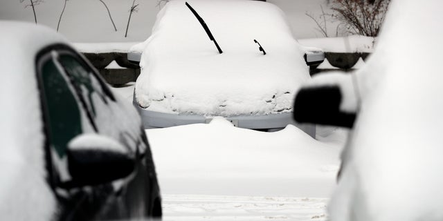 Cars are covered by snow on Monday in Wheeling, Ill. A winter storm brought more than 5 inches of snow to northern Illinois as the region braced itself for record-low subzero temperatures.