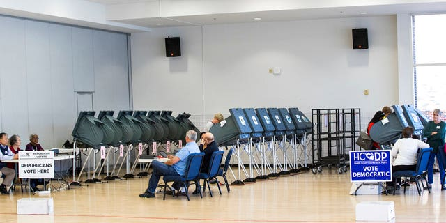 In this March 6, 2018, photo, voters take to the polls in the primary election at West University Elementary in Houston. The ACLU and other groups slammed Texas elections officials who say they found 95,000 people identified as noncitizens who had a matching voter registration record. Texas Attorney General Ken Paxton now says many of them could have become citizens and voted legally. (Brett Coomer/Houston Chronicle via AP, File)