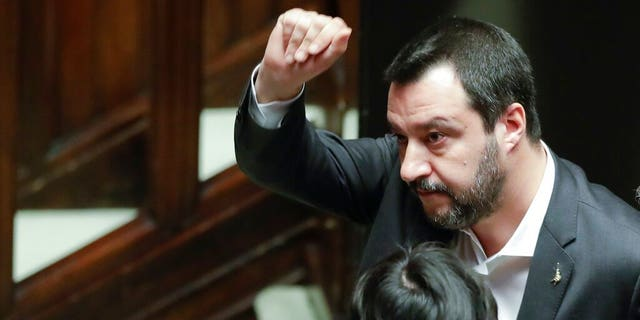 Italian Deputy-Premier Matteo Salvini leaves after answering questions at the Parliament in Rome, Wednesday, Jan. 30, 2019.  (AP Photo/Andrew Medichini)