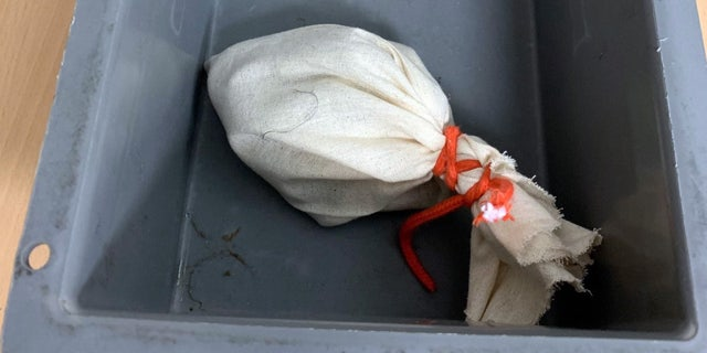 The serpent was allegedly contained in a bag that was tied with a cord.