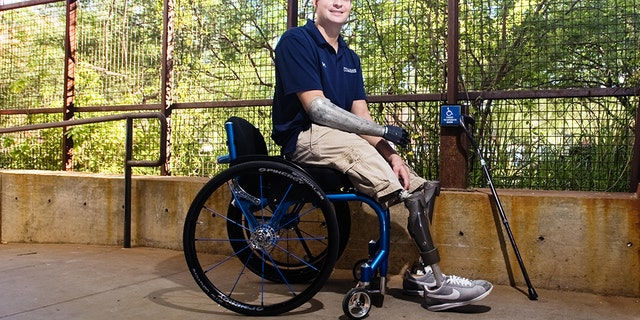 Nov. 2, 2011 - Tucson, Arizona, U.S - BRIAN KOLFAGE, JR. is a University of Arizona architecture student and United States Air Force veteran who lost both legs and part of his right arm to a mortar attack in Iraq on Sept. 11, 2004. Kolfage spent a year at Walter Reed in Washington, D.C. after the attack; and the DoD has called him the most wounded airman to survive any war. (Credit Image: © Will Seberger/ZUMAPRESS.com)