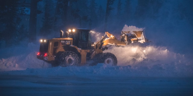 This picture, provided by the Mammoth Mountain ski area, shows snow removal in Mount Mammon County, Mammoth Lakes, California, Wednesday, January 16, 2019.