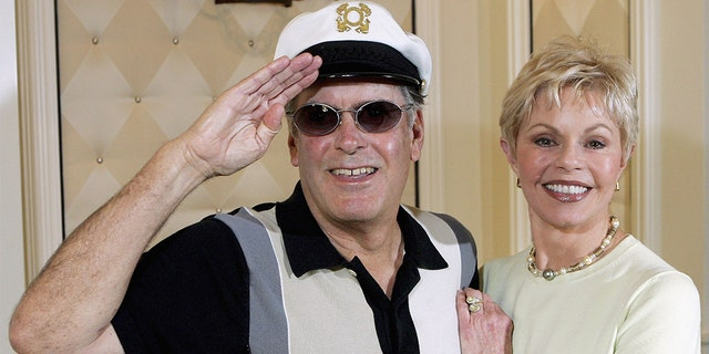 """Captain"" Daryl Dragon has died. He was 76. The late musician is pictured here with Toni Tennille in 2005."