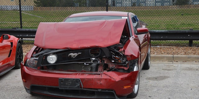 The vehicles included a Ford Mustang (pictured), a Porsche sports coupe and a Dodge Challenger