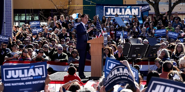 Former San Antonio Mayor and Housing and Urban Development Secretary Julian Castro speaks during an event where he announced his decision to seek the 2020 Democratic presidential nomination, Saturday, Jan. 12, 2019, in San Antonio. (AP Photo/Eric Gay)