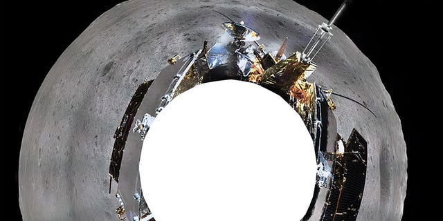 The panoramic view of the far side of the Moon captured by the Change'e 4 lander.