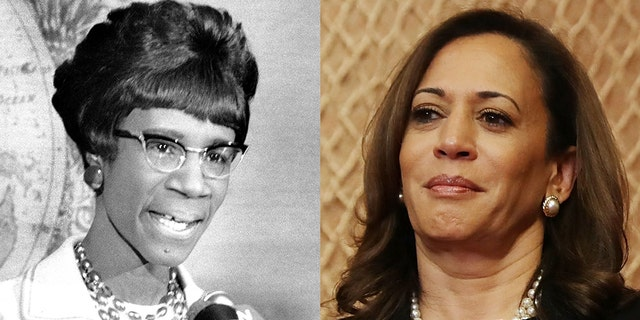 Sen. Kamala Harris (right) is running for president and her campaign logo is similar to that of Shirley Chisholm's, the first black woman to run for the Democratic presidential nomination nearly 47 years ago.