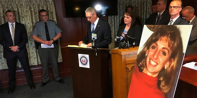 In this June 25, 2018, file photo, Lancaster County District Attorney Craig Stedman announces charges in a 1992 cold case killing during a news conference at the Lancaster County Courthouse in Pennsylvania.(AP Photo/Mark Scolforo)