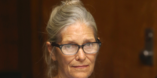 Leslie Van Houten at her parole hearing at the California Institution for Women in Corona, onSept. 6, 2017.