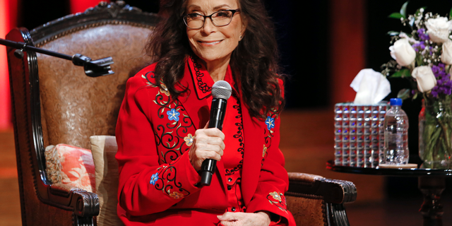 Country music legend Loretta Lynn appears on stage at the Grand Ole Opry House, Monday, Jan. 14, 2019, in Nashville, Tenn.