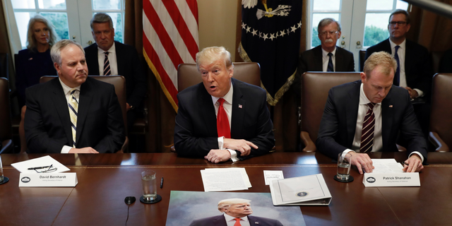 President Trump speaks during a cabinet meeting at the White House on Wednesday in Washington.