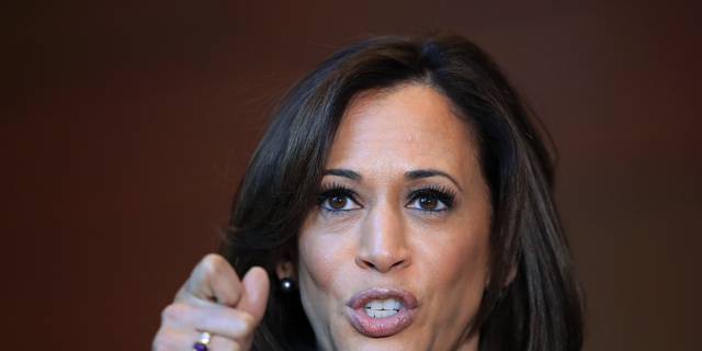 Sen. Kamala Harris, D-Calif., speaks to members of the media at her alma mater, Howard University, Monday, Jan. 21, 2019 in Washington, following her announcement earlier in the morning that she will run for president. (AP Photo/Manuel Balce Ceneta)