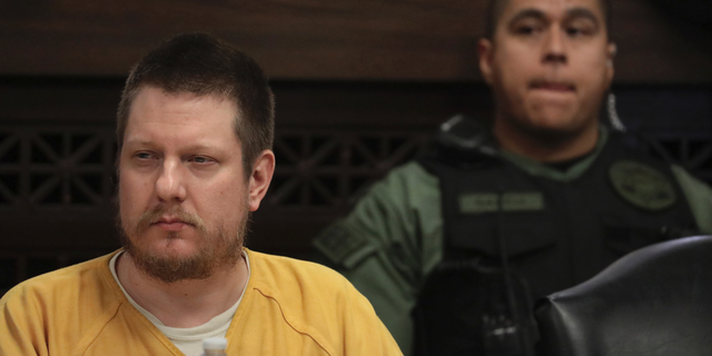 Former Chicago police officer Jason Van Dyke attends his sentencing hearing at the Leighton Criminal Court Building in Chicago on Friday. (Antonio Perez/Chicago Tribune via AP, Pool)