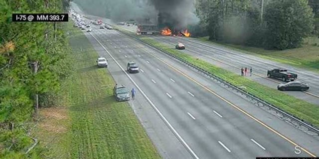 The image shows the fiery crash along Interstate 75 on Thursday, Jan. 3, 2019.