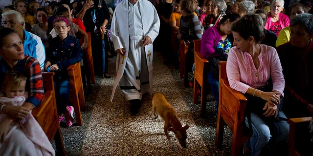 Father Cirilo Castro takes part in the consecration Mass of the Sagrado Corazon de Jesus, or Sacred Heart, Catholic church, in Sandino, Cuba, Saturday, Jan. 26, 2019. (AP Photo/Ramon Espinosa)