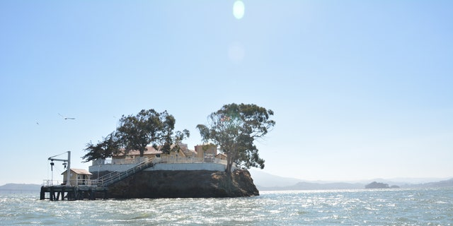 The lighthouse is between San Pablo and San Francisco bay off the coast of Richmond, Calif.