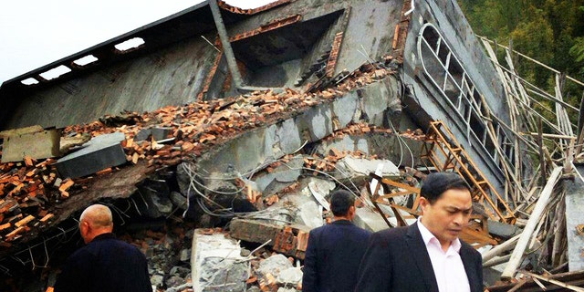 Church demolished by the Chinese authorities in Pingyang County, Wenzhou, in April 2014. Photo: China Aid.