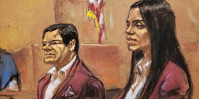 Left Anthony Nardozi questions Witness Lucero Guadalupe Sanchez Nunez. El Chapo and his wife (Emma Coronel Aispuro) wear matching wine colored velvet jackets.