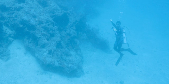 A diver points toward the aircraft discovered off Buka Island, Papua New Guinea.