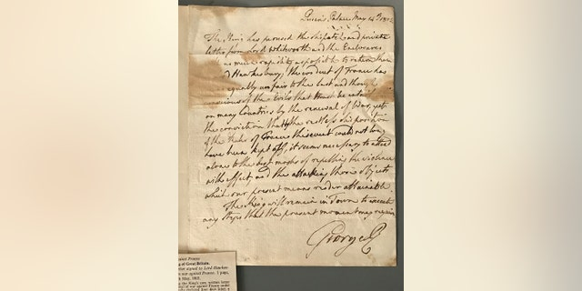 The letter by King George III showing his intent to take Britain to war in 1803.