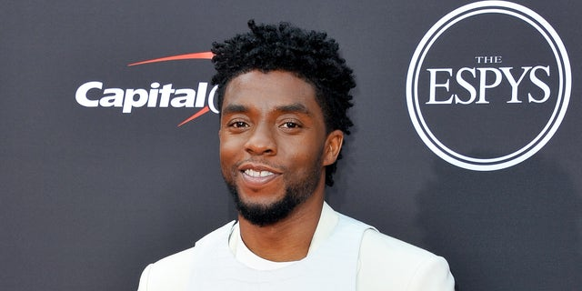 "Chadwick Boseman wore the ""harness"" to the 2018 ESPYS on July 18, 2018."