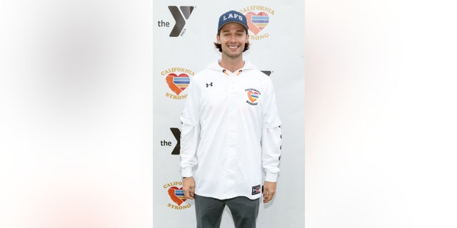 "Patrick Schwarzenegger attends a charity softball game to benefit ""California Strong"" at Pepperdine University on January 13, 2019 in Malibu, California."