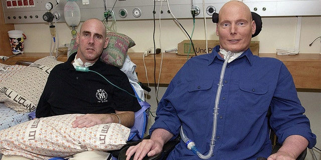 Christopher Reeve poses with American citizen Steven Averbach, who survived a terrorist attack in Jerusalem, during a visit to the Sheba-Tel Ha Shomer Hospital on July 29, 2003 in Tel Aviv, Israel. Averbach suffers from the same spinal injury as Reeve did. — Getty