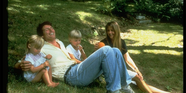 Actor Christopher Reeve with Gae Exton and their children.