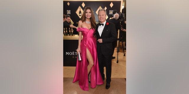 Blanca Blanco with boyfriend, actor John Savage, at the 2019 Golden Globe Awards. — Getty