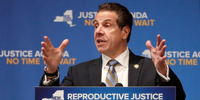 Governor of New York, Andrew Cuomo, gesticulating on Monday, January 7, 2019, speaking at Barnard College, New York, calling for the codification of abortion rights in New York State law. (AP Photo / Kathy Willens)