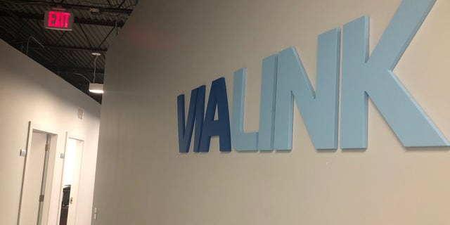 ViaLink's logo in its New Orleans call center.
