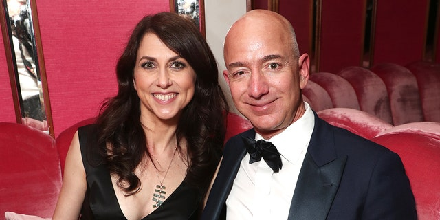 File photo - CEO of Amazon Jeff Bezos and writer MacKenzie Bezos attend the Amazon Studios Oscar Celebration at Delilah on February 26, 2017 in West Hollywood, California.(Photo by Todd Williamson/Getty Images for Amazon)