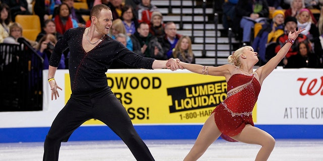 Jan 9, 2014; Boston, MA, USA; Caydee Denney and John Coughlin perform during the pairs short program in the U.S. Figure Skating Championships at TD Garden.