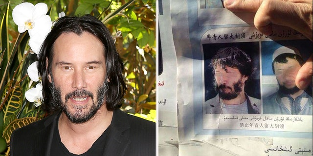 """A picture of """"Matrix"""" actor Keanu Reeves (left) appeared to be featured in Chinese government posters (right)"""