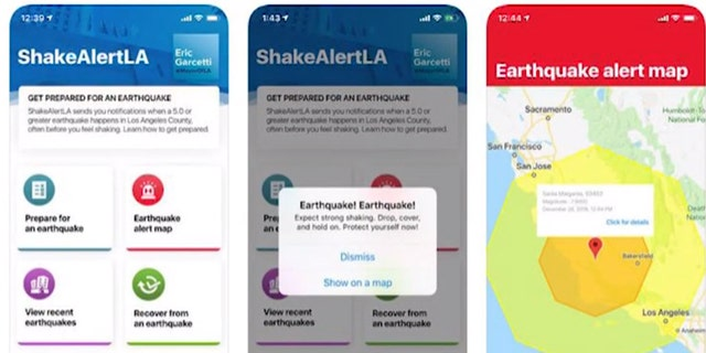 Screenshots show how alert messages are displayed on the ShakeAlertLA app.