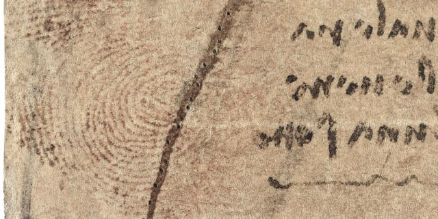 Detail of Leonardo's work showing the thumbprint (Royal Collection Trust)