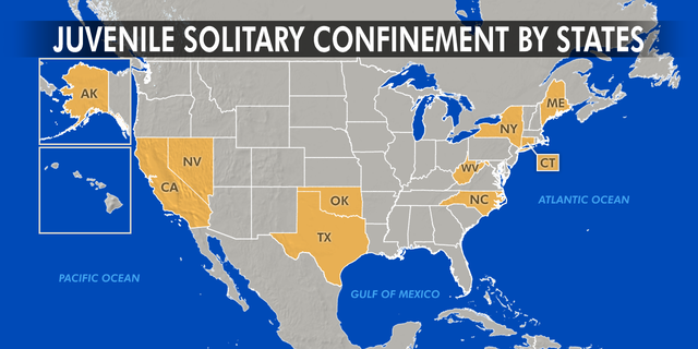 States that have passed laws to ban or limit solitary confinement California and New York, Alaska, Connecticut, Maine, Nevada, North Carolina, Oklahoma, Texas, and West Virginia.
