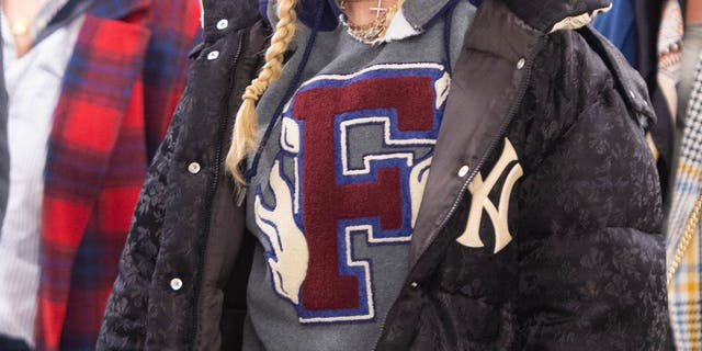 Madonna is seen sporting her New York Yankees puffy coat on October 16, 2018, in New York City.