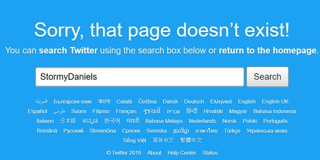 A search of Daniels' twitter handle showed an error message.