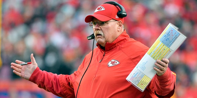 FILE - In this Dec. 30, 2018, record photo, Kansas City Chiefs conduct manager Andy Reid gestures during a initial half of an NFL football diversion opposite a Oakland Raiders, in Kansas City, Mo.
