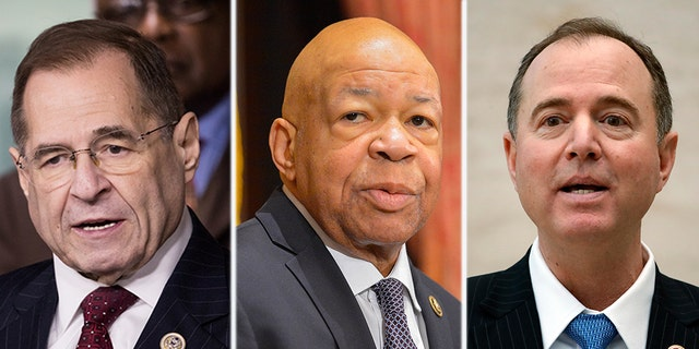 Rep. Jerry Nadler, the incoming chair of the House Judiciary Committee; Rep. Elijah Cummings, D-Md., the incoming chairman of the House Oversight Committee; and Rep. Adam Schiff, D-Calif., the incoming chairman of the House Intelligence Committee are readying to launch a slew of Trump administration investigations. (AP, Getty, Reuters)