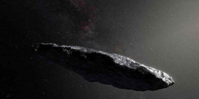 Artist's illustration of Oumuamua, the first interstellar object ever spotted in our solar system.