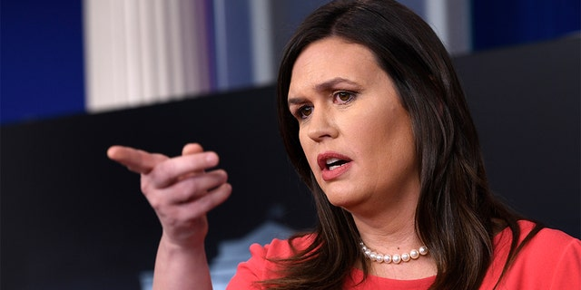 White House press secretary Sarah Sanders speaks during the daily briefing at the White House in Washington, Monday, Jan. 28, 2019. (AP Photo/Susan Walsh)