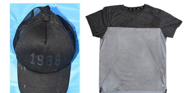 The shirt and hat found near the crime scene by authorities.